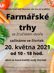Farmářské trhy ve Zruči nad Sázavou od 20. 5. 2021